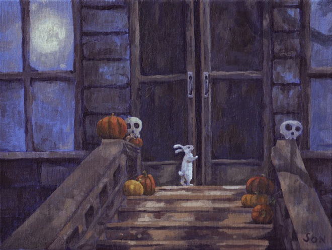 """halloween house painting"""
