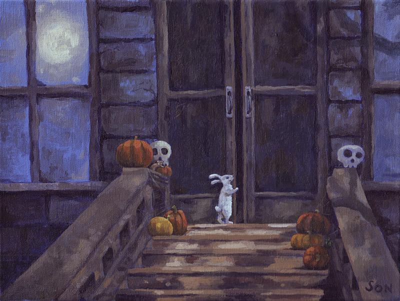 """halloween house painting"""
