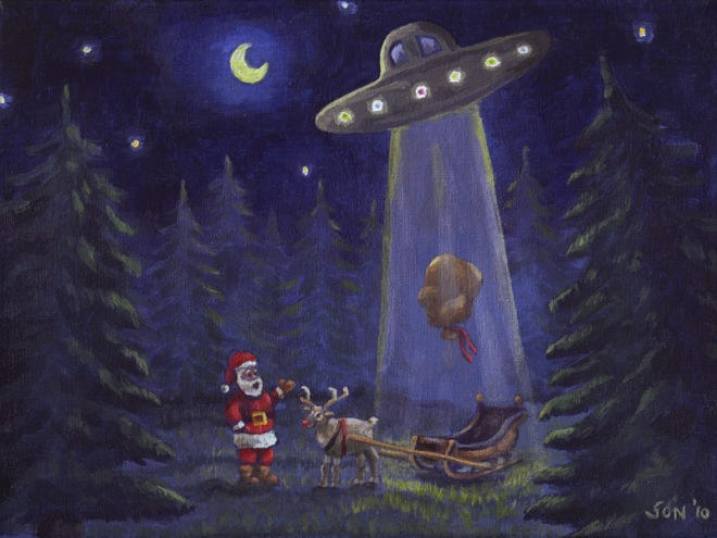 """Extraterrestrial Christmas Robbery painting"""