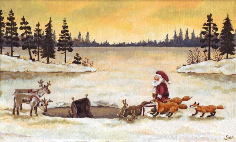 """santa claus christmas painting"""