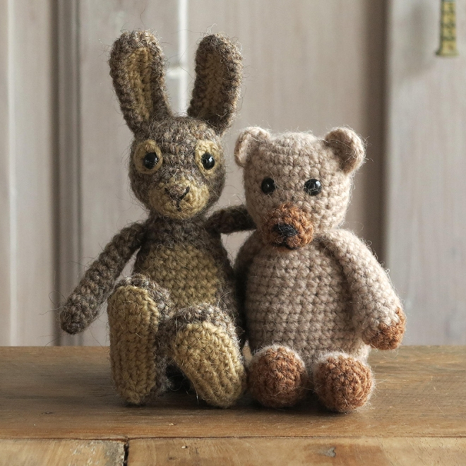 crochet rabbit and bear