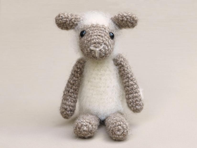 Fuzzy crochet lamb