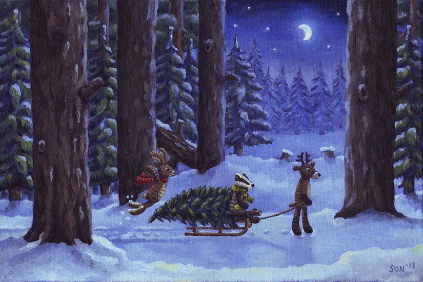 Son's Popkes illustration, christmas illustration
