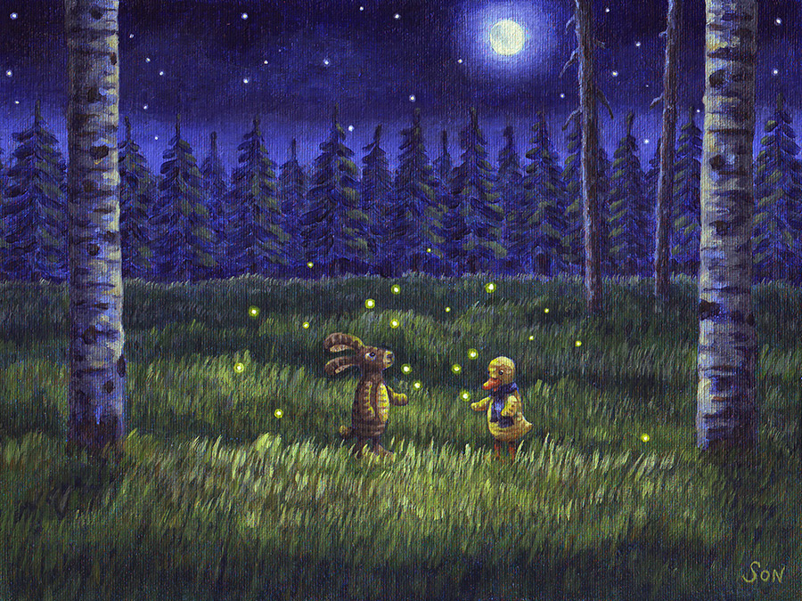 Real fireflies in a field