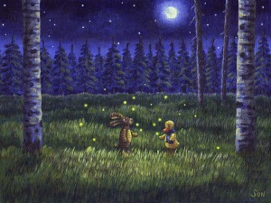 night painting forest fireflies