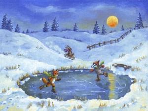 christmas illustration, painting animals