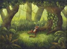 tiger jungle painting, illustration.