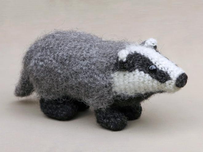 realistic amigurumi crochet badger