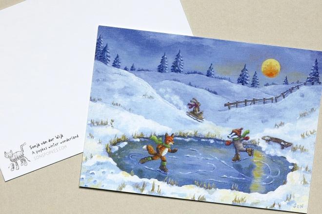 Christmas card winter illustration