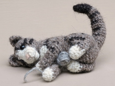 playful crochet cat