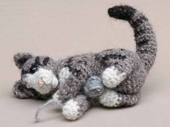 playful crochet cat